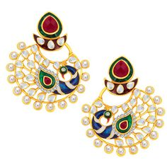 Stylish Peacock Gold Plated Earring For Women
