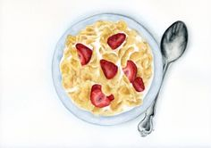 Corn Flakes With Strawberries, Colorful Food Illustration