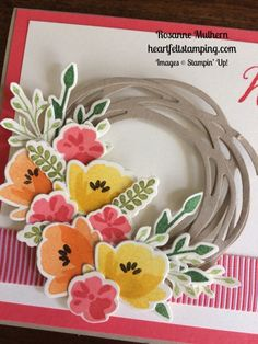 Stampin Up Jar of Love Wreath Birthday Card Idea - Rosanne Mulhern