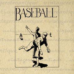 Baseball Artwork Digital Graphic Printable by VintageRetroAntique