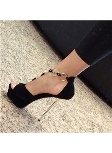 Sexy Metal Decoration Stiletto Platform Sandals