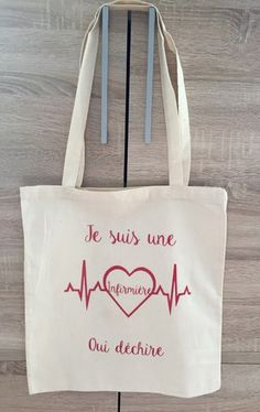 Tote bag, very practical bag to use for all the little occasions of everyday shopping, sport, Sacs Tote Bags, Diy Tote Bag, Canvas Tote Bags, Reusable Tote Bags, Vinyl Paper, Silhouette Portrait, Creative Gifts, Teacher Gifts, Geek Stuff