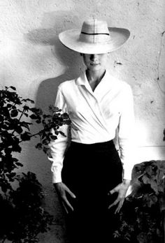 Audrey in a shirt & pencil skirt from the 50's ...trending again right now...