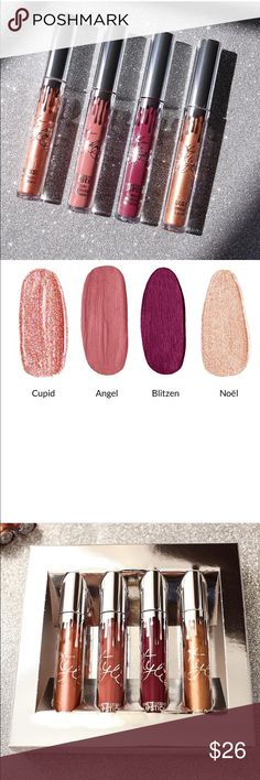 """Kylie Holiday Noel Only Lip Set *this includes only one shade not the whole set* 100% AUTHENTIC (proof is in last pic it is part of holiday bundle) this is the Kylie holiday LIMITED edition lipgloss. This includes ONE  liquid lipgloss in the shade """"NOEL"""". Let me know if you want to bundle this with other shades/items for a discount! I am an honest seller and have only positive ratings! Comment below if you have any questions! Kylie Cosmetics Makeup Lip Balm & Gloss"""