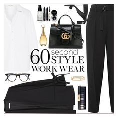 """60-Second Style: Work Wear"" by tamara-40 ❤ liked on Polyvore featuring Yves Saint Laurent, 3.1 Phillip Lim, STELLA McCARTNEY, MANGO, Gucci, Cutler and Gross, David Yurman, Bobbi Brown Cosmetics, John Lewis and Christian Dior"