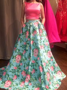 My Sherri Hill prom dress for senior prom 2016! I surprisingly love the floral and two piece! Plus is has POCKETS! Which is the most exciting part