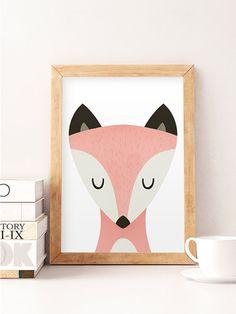 Fox print Fox nursery print Nursery wall art Wildlife