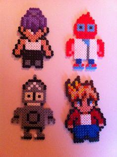Futurama: Leela, Zoidberg, Bender & Fry  hama perler beads by Beatriz Sales Almazán