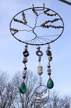 TREE OF LIFE Wire Wrap Windchime wind chime Garden by brambleoak, $43.00