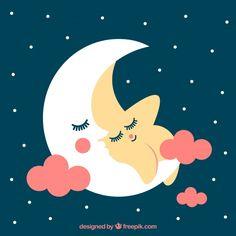 Adorable fondo de estrella descansando con la luna  Vector Gratis