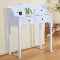 This HOMCOM dressing table is a great addition to any bedroom. It comes with 4 drawers to keep your jewelry and cosmetics. It can be also used as a console table for writing with an elegant and vintage design. A great table to have and can match any bedroom décor.