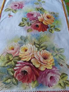 Fabric Paint Designs, Arte Floral, Fabric Painting, Painting Techniques, Stencils, My Design, Diy And Crafts, Hand Painted, Rose