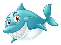 Illustration about Illustration of a shark smiling on a white background. Illustration of clipart, fish, pond - 33316145 Water Animals, Baby Animals, Animal Drawings, Cute Drawings, Clip Art, Cute Clipart, Under The Sea Party, Fabric Painting, Sea Creatures