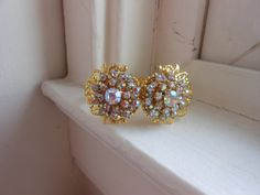 Altered Couture ab crystal gold clamper bracelet by 2007musarra, $42.99