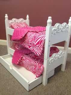 "New Wooden Bunk Beds With Trundle & Linens For American Girl And Other 18"" Dolls"