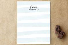 Sanibel Island Stripes Personalized Stationery blue calligraphy letterhead