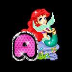 Alfabeto animado de la Sirenita en diferentes posturas.