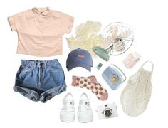 """""""coral"""" by paper-freckles ❤ liked on Polyvore featuring Gap, JuJu, Levi's and Lomography"""