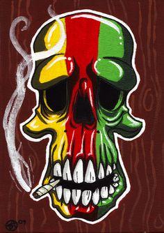 Skull smoking weed