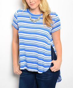 Look what I found on #zulily! Royal Blue & Ivory Stripe Hi-Low Top - Plus #zulilyfinds