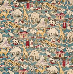 Furnishing fabric for children with animal pattern, by Dorothy Hutton for William Foxton Ltd. UK, 1929