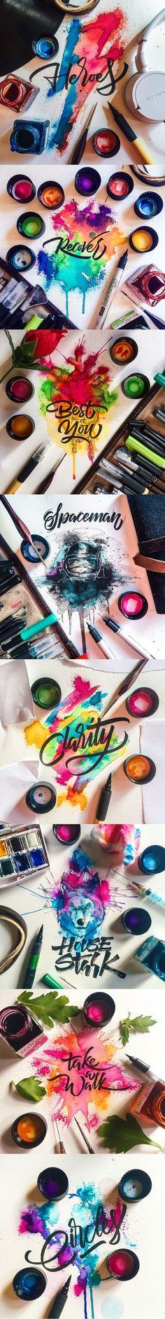 Olivia Puckett letras con fondos de colores