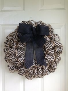 Black Chevron Burlap Ribbon Wreath with Black Burlap Bow