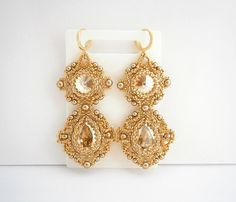 Gold beadwork set: bracelet and earrings with by MadeByAllushka