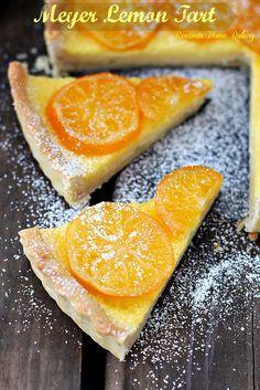 Meyer Lemon Tart. Sweet and tart, this custard like tart will leave everyone wanting more. Recipe from Roxanashomebaking.com as seen on Aspicyperspective.com