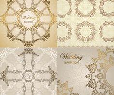 Wedding invitation elements vector
