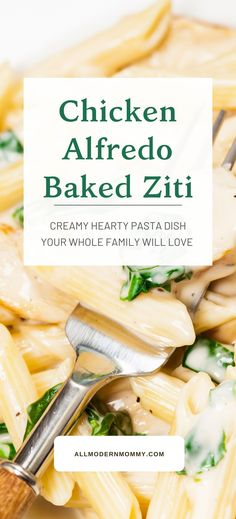 Baked Chicken Alfredo Ziti Best Pasta Dishes, Creamy Pasta Dishes, Food Dishes, Side Dishes, Baked Ziti, Baked Chicken, Chicken Recipes, Fettuccine Alfredo, Alton Brown