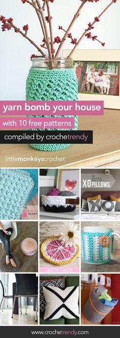 Yarn Bomb Your House with 10 Free Crochet Patterns | via Crochetrendy.com