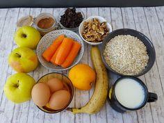 Prajitura cu morcovi si fulgi de ovaz Deserts, Eggs, Sugar, Fruit, Breakfast, Food, Ideas, Sweet, Banana