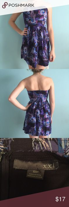 Peacock Feather Dress Purple, blue, and black strapless fit & flare dress with peacock feather print. Great condition. Padding on bust and zipper in back. Size small by Forever 21. Forever 21 Dresses Strapless