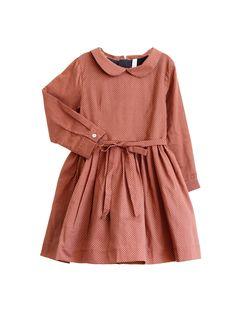 Miller London Dollu dress in Aca brown on model