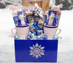 winter blues gift basket | ... winter themed gift basket find a decorated box or basket two great