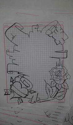 School Board Decoration, Page Decoration, Page Borders Design, Border Design, Graffiti Drawing, Graffiti Art, Pretty Drawings, Cool Drawings, Tattoo Fonts Alphabet