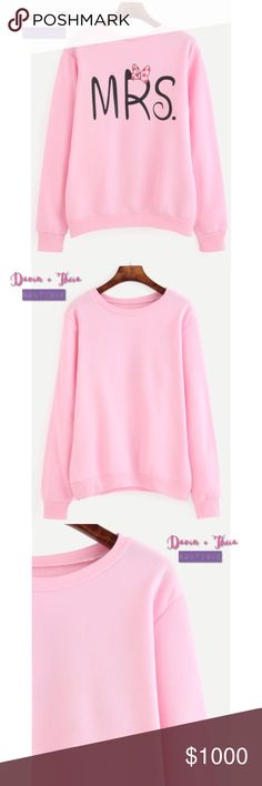 "🌟Pink Pullover Sweatshirt Pink letter print pullover sweatshirt perfect for this fall and winter. Very soft. Fabric has some stretch. Material is polyester.  Measurement: Shoulder:	S:42cm, M:43cm, L:44cm Sleeve Length:S:62cm, M:63cm, L:64cm Length:S:62cm, M:63cm, L:64cm Bust:S:96cm, M:100cm, L:104cm  💟Submit your offer thru the ""Offer"" button 💟NO Price discussion in the comment 💟NO Lowballing 💟NO Trades Sweaters Crew & Scoop Necks"