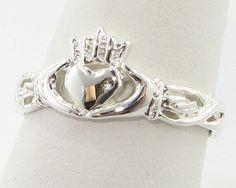 Silver Claddagh Ring, Irish Wedding/Friendship Band. $98.00, via Etsy.