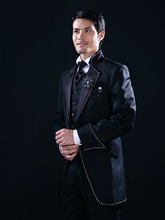 Black Solid Slim Fit Tuxedo In Polyester - USD $99.99