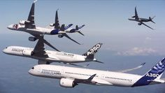 Five Airbus A350 in formation flight