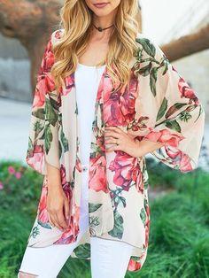 20aff1e97c Floral Printed Thin Chiffon Cardigan – ebuytide Kimono And Jeans, Kimono  Top, Chiffon Cardigan