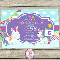 Unicorn Birthday Party Invitation. #Unicorns