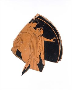 Attributed to the Kiss Painter | Fragmentary terracotta kylix (drinking cup) | Greek, Attic | Archaic | The Met