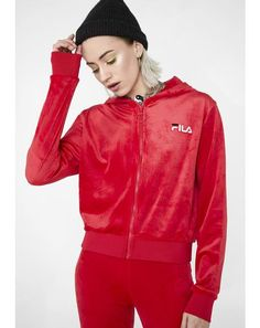 14d241ba48f9 Cipriana Emboss Velour Hoodie Fila Outfit, Athleisure Fashion, Embossed  Logo, Adidas Jacket,
