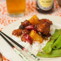 Sweet  Sour Chicken - crispy chicken, tender bell peppers, and juicy pineapple are all in this take-out fake out favorite!