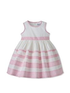 Baby CZ Girl's Sleeveless Striped Dress (White/Pink)
