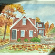House portrait in watercolor. Beautiful fall colors Watercolor Artwork, Watercolor Paper, House Paintings, Realtor Gifts, Hand Sketch, Cool Lighting, Custom Paint, That Way, Custom Homes