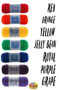 Need help picking colors for your rainbow yarn projects? I've created a TON of rainbow yarn shopping lists (with conveniently pinnable images! Knitting Charts, Knitting Stitches, Knitting Patterns Free, Loom Knitting, Crochet Patterns, Yarn Projects, Crochet Projects, Hobby Lobby, Yarn Color Combinations