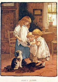 Vintage illustration: children with cat and kittens